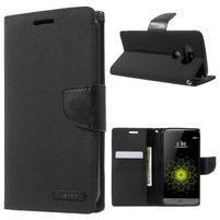 Canvas PU kožené/textilní pouzdro na LG G5 - černé