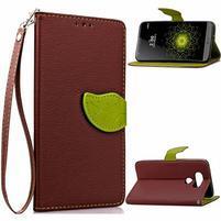 Leaf PU kožené pouzdro na LG G5 - hnědé