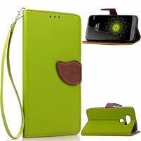 Leaf PU kožené puzdro pre LG G5 - zelené