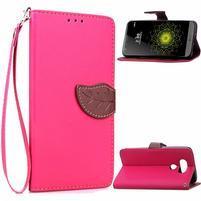 Leaf PU kožené pouzdro na LG G5 - rose