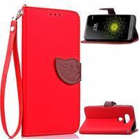 Leaf PU kožené pouzdro na LG G5 - červené