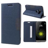 Klopové peňaženkové puzdro pre LG G5 - tmavomodré