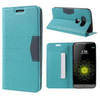 Klopové peňaženkové puzdro pre LG G5 - svetlomodré