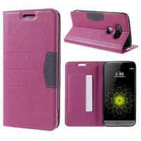 Klopové peneženko pouzdro na LG G5 - rose