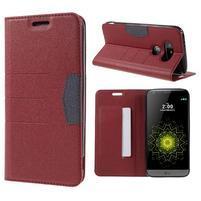 Klopové peňaženkové puzdro pre LG G5 - červené