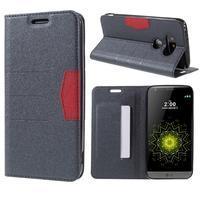 Klopové peňaženkové puzdro pre LG G5 - sivé