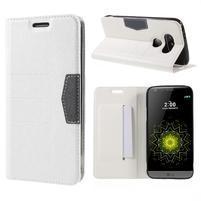 Klopové peňaženkové puzdro pre LG G5 - biele