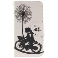 Obrázkové koženkové puzdro pre LG G5 - láska na bicykli