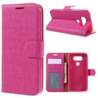 Cloth koženkové peněženkové pouzdro na LG G5 - rose