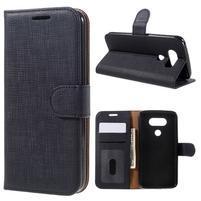 Cloth koženkové peněženkové pouzdro na LG G5 - černé