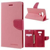 Goos stylové PU kožené puzdro pre LG G5 - ružové