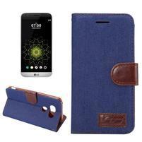 Jeans peňaženkové puzdro pre LG G5 - tmavomodré