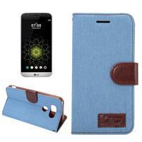 Jeans peňaženkové puzdro pre LG G5 - svetlomodré