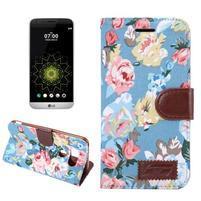 Kvetinové puzdro pre mobil LG G5 - modrý vzor