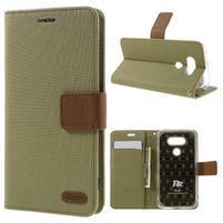 Diary PU kožené puzdro pre mobil LG G5 - khaki