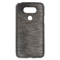 Hladký gelový obal s broušeným vzorem na LG G5 - černý