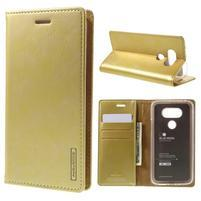 Luxury PU kožené puzdro pre mobil LG G5 - zlaté
