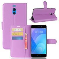Litchi PU kožené puzdro na Meizu M6 Note - fialové