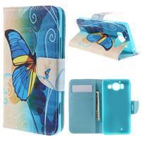 Peňaženkové puzdro pre Microsoft Lumia 950 - modrý motýľ