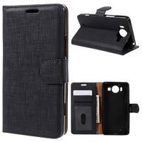 Cloth Peňaženkové puzdro pre mobil Microsoft Lumia 950 - čierne