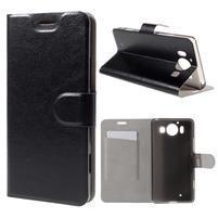 Horse PU kožené pouzdro na mobil Microsoft Lumia 950 - černé
