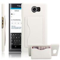 Cloth PU kožený obal se stojánkem pre BlackBerry Priv - biele