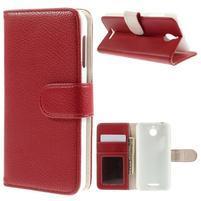 Folio PU kožené puzdro pre mobil HTC Desire 510 - červené