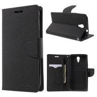 Diary PU kožené puzdro pre mobil HTC Desire 620 - čierné