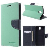 Diary PU kožené puzdro pre mobil HTC Desire 620 - cyan