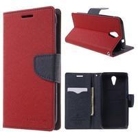 Diary PU kožené pouzdro na mobil HTC Desire 620 - červené