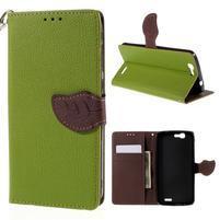 Zelené peňaženkové puzdro na Huawei Ascend G7
