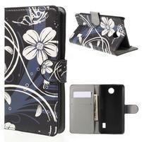 Zapínacie peňaženkové puzdro Huawei Y635 - biela kvetina