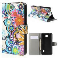 Zapínacie peňaženkové puzdro Huawei Y635 - farebné kvety