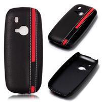 Color PU kožený/plastový obal na Nokia 3310 - čierny