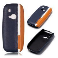 Color PU kožený/plastový obal na Nokia 3310 - tmavomodrý