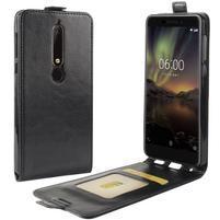Flipové PU kožené puzdro na Nokia 6.1 - čierne