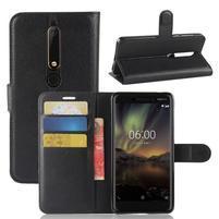 Litchi PU kožené puzdro na Nokia 6.1 - čierne