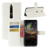 Litchi PU kožené puzdro na Nokia 6.1 - biele