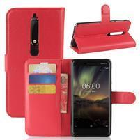 Litchi PU kožené puzdro na Nokia 6.1 - červené