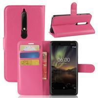 Litchi PU kožené puzdro na Nokia 6.1 - rose