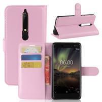Litchi PU kožené puzdro na Nokia 6.1 - ružové