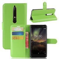 Litchi PU kožené puzdro na Nokia 6.1 - zelené