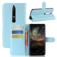 Litchi PU kožené puzdro na Nokia 6.1 - modré