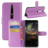 Litchi PU kožené puzdro na Nokia 6.1 - fialové