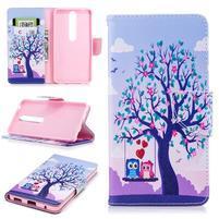 Emotive PU kožené puzdro na Nokia 6.1 - láska pod stromom
