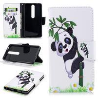 Emotive PU kožené puzdro na Nokia 6.1 - panda na bambuse