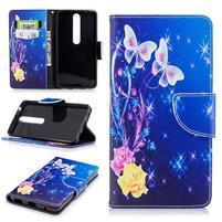 Emotive PU kožené puzdro na Nokia 6.1 - farebné motýle