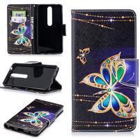 Emotive PU kožené puzdro na Nokia 6.1 - kúzelné motýle