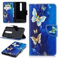 Emotive PU kožené puzdro na Nokia 6.1 - modré motýle
