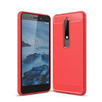 Carbon odolný gélový obal s brúsením na Nokia 6.1 - červený